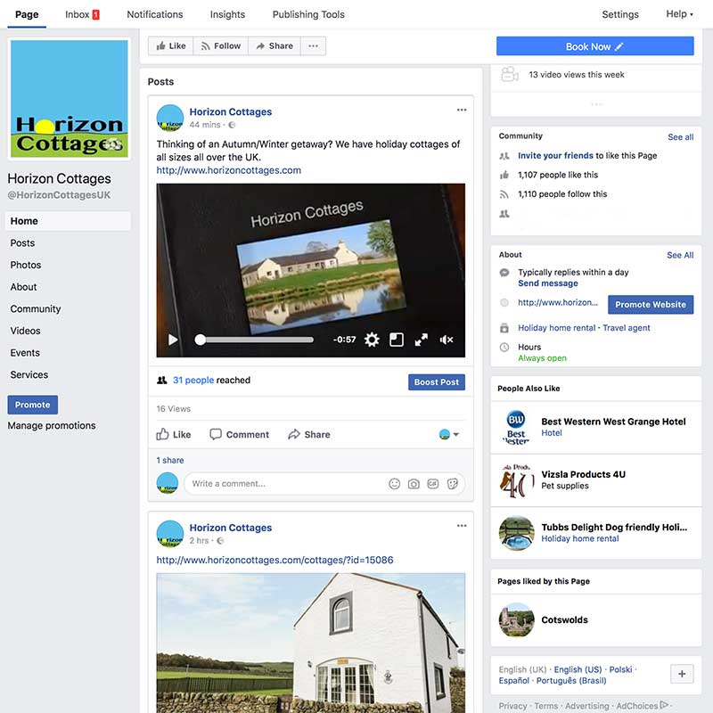 Horizon Cottages Facebook page