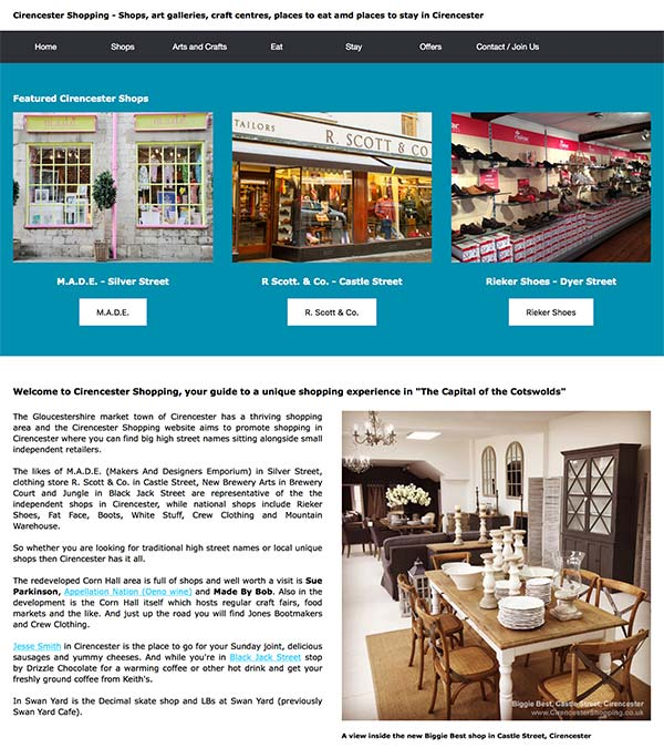 The Cirencester Shopping website
